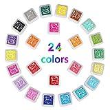 Zacfton 24 Farben Stempelkissen Set, Tinte Pads Stempel,Stamp Pad Fingerdruck für Papier Handwerk Stoff, Fingerabdruck,Scrapbook, Malerei