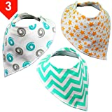 Drooling Bibs Prime (Set of 3) - Cute Bandana Bib Set - Stylish Organic Cotton Drool Bibs by BabyBecca (For Boys and Girls)