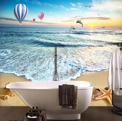 SKTYEE Fototapete 3D Strand Meer Landschaft Feuer Ballon Muschel Fototapete Wohnzimmer TV Sofa Dekor @ 200x140_cm_ (78.7_by_55.1_in_) _