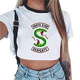 bb37d137f32b5c Magliette Tumblr Ragazza Riverdale Crop Top T-Shirt Estate Donna Canotta  Maniche Corte Collo Rotondo Maglietta Moda Hip Pop Top Casuale Camicetta  Camicia ...