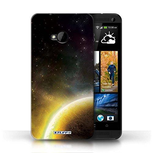 Kobalt® Imprimé Etui / Coque pour HTC One/1 M7 / Planète Pourpre conception / Série Cosmos Planète Jaune