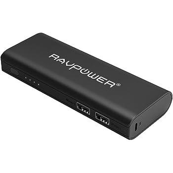 Caricatore portatile RAVPower 10400mAh Power Bank batteria esterna con uscita 3.5a e tecnologia iSmart–bianco