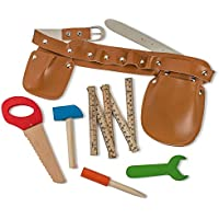 Dress Up America 929 - Set Cintura per Attrezzi da Muratore con Cinque Attrezzi in Legno