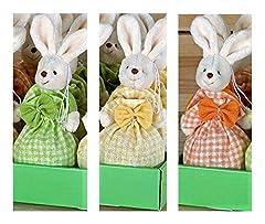 Idea Regalo - Mopec Tris di Coniglietti in Sacchetto di Tessuto con Praline di Cioccolato al Latte Ripieno di Nocciola - 3 x 60 Gram