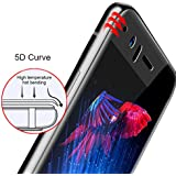 Oneplus 5 Tempered Glass 5D, Edge To Edge Full Protection, Crystal Clarity (Black), Full Glue 9H Hardness, Anti-Bubble & Oil Stains Coating, Tempered Glass For One Plus 5 Marshland