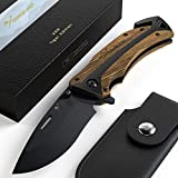 BERGKVIST Couteau de poche K29 Tiger [2019] 3-en-1 Couteau pliant I Couteau survie avec manche en bois I Couteau de chasse avec étui à couteau & pierre d'affûtage
