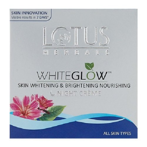 Lotus Herbals White Glow Skin Whitening and Brightening Nourishing Night Creme, 60g