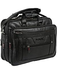 Wolfic Black Synthetic Leather 100% Vegan 17 Inch Laptop Messenger Bag