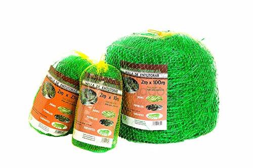 Maille entutorar de polypropylène vert - Red extrusonada pour entutorado de plantes de Enrame, arbustivas, grimpantes type gousses, tomates, poivrons, etc. - Dimensions : 2 x 25 mètres