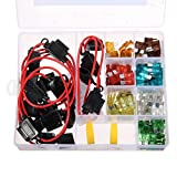 AUDEW Kit 10 KFZ-Sicherungshalter mit 120 Stück Sicherung Auto Flachsicherung