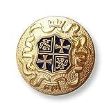Knopfparadies - 6er Set sehr elegante leicht gewölbte matt goldfarben gekörnte Metall Ösen Knöpfe mit dunkelblau unterlegtem Wappen Motiv mit Löwe, Kreuz und Krone / teilweise matt & glänzend gold, glänzend dunkelblau / Metallknöpfe / Ø ca. 16mm