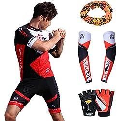 Asvert Malliot de Ciclismo Hombre 3D Cojín Manga Corta Jersey + Pantalones Ropa de Bicicleta Verano Conjunto Ciclista Elástica Equipación Bicicleta Transpirable, Rojo