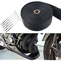 FuriAuto Rollo de Cinta Aislante de Fibra para Tubo de Escape Titanio calor de Coche o Motocicleta 15M + 6 barras de acero inoxidable)
