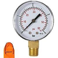 KKmoon 50mm 0~ 15 psi/0~ 1 bar NPT 1/4in piscina filtro Presión de agua reloj Thread hidráulico manómetro medidor