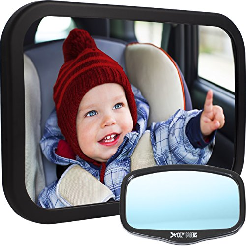 Cozy Greens/® Baby Car Mirror Back Seat Rear-Facing Infant in Sight Lifetime Satisfaction Guarantee Bonus Cleaning Cloth /& Traveling with Kids eBook Luxury Gift Box Crash Tested /& Certified