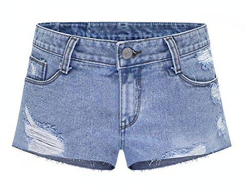 Damen Sommer Modisch Boyfriend Mittlere Taille Zerrissenes Loch Skinny Denim Shorts Hotpants Kurz Jeans Hosen Löcher Blau Blau