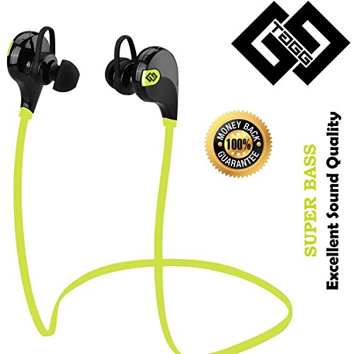 TAGG® T - 07 Wireless Sports Bluetooth Headphone Headset with Mic + Free Carry Pouch || Sweatproof Earbuds, Best for Running,Gym || Noise Cancellation || Stereo Sound Quality || Compatible with Iphones, IPads, Samsung and other Android Devices || 100% Satisfaction Guaranteed ?