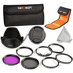 K&F Concept 72mm 6pcs UV CPL FLD Close-up+1+2+4+10 Lens Accessory Filter Kit UV Protector Circular Polarizing Filter for Canon 7D 60D 70D 500D for Nikon D7000 D600 D300 D800 D7100 for Sony A77 NEX 5 DSLR Cameras + Microfiber Lens Cleaning Cloth + Petal Lens Hood + Center Pinch Lens Cap + Filter Bag Pouch