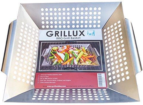 Das # 1Grill Korb von grillux-BBQ Geschenk Zubehör für Grillen Gemüse-Verwendung als Wok, Pfanne, oder Raucher-Qualität Edelstahl-Camping Kochgeschirr-Holzkohle oder Gasgrills OK - Handle Wok