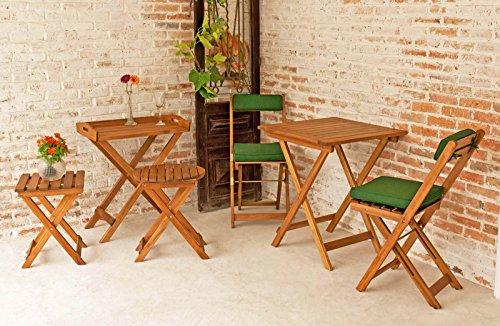 Balkonmöbel 1 Tablett mit Ständer - 1 Beistelltisch in rund - 1 Beistelltisch in eckig - 1 Tisch mit 2 Stühlen (Ständer Mit Klapptische)