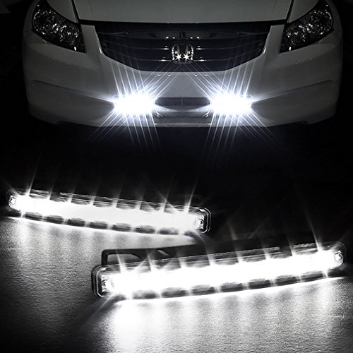 Preisvergleich Produktbild SUNTEC 2 x 8 LED Tagfahrlicht KFZ Auto Lampe Tagfahrleuchten Positionslicht Weiß DC 12V