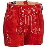 PAULGOS Damen Trachten Lederhose + Träger, Echtes Leder, Sexy Kurz, Hotpants in 5 Farben Gr. 34-50 H1, Farbe:Rot, Damen Größe:40