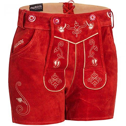 PAULGOS Damen Trachten Lederhose + Träger, Echtes Leder, Sexy Kurz, Hotpants in 5 Farben Gr. 34-50 H1, Farbe:Rot, Damen Größe:38