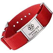 7b6586bd20c2 Tarring PRE-Engraved Deporte Rojo Lienzo Medical ID Pulseras Fro Boy y  Girls-Stainless