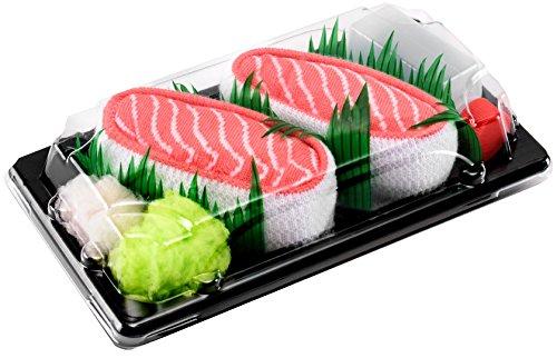 Sushi Socks Box 1 par de CALCETINES: Nigiri Salmón - REGALO DIVERTIDO, Idea Original, Algodón de alta Calidad|Tamaños 36-40, Certificado de OEKO-TEX, Fabricado en EU