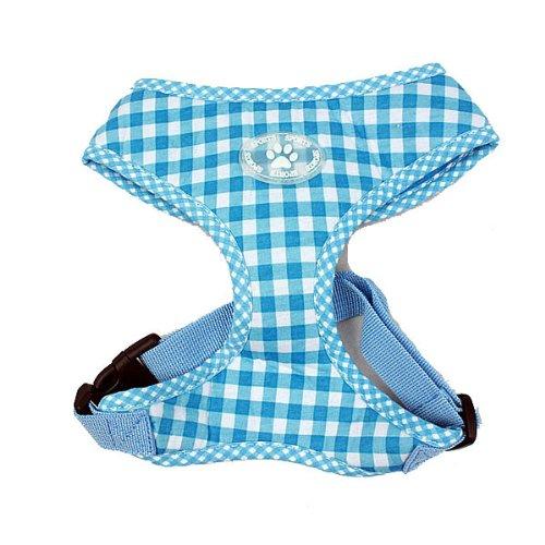 Hund Puppy Schritt in Hundegeschirr Gingham-Karo-Plaid Soft Baumwolle XS-XL Blau und Pink Blau, Extra Groß, 0799599579997 (Blau Gingham Plaid)