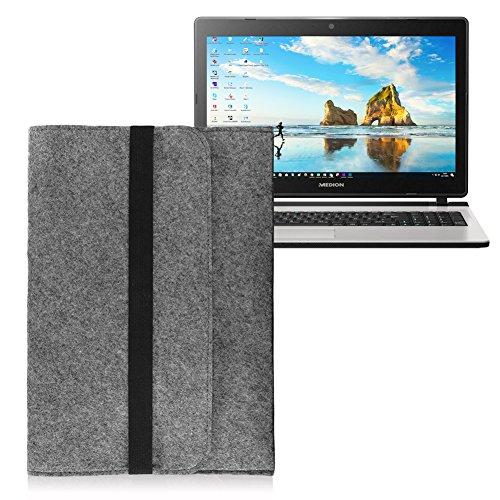 Tasche Sleeve Hülle für Medion Akoya P6670 P6659 E6424 E6432 Notebook Filz Grau