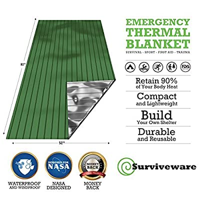Surviveware Emergency Mylar Blankets (5 Pack). Ideal for Survival, Hiking, Running, Backpacking and Marathons Great for Cars, Bug Out Bags and First Aid Kits. Safe is Boring, Be Prepared Large from Surviveware
