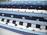 Qjutie Lottashaus 10x Stoff Blau & Marine Navy Stoffpaket Stoffe Patchwork Sterne Shabby chic