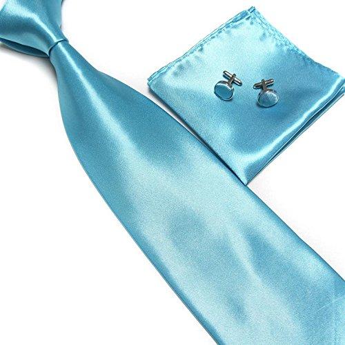cravate-pochette-bouton-de-manchettes-satinee-bleu-turquoise-neuf