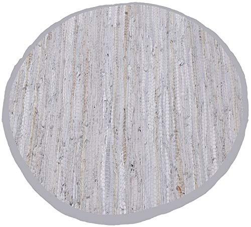Bestlivings Teppich Läufer Matte Unterlage Vorleger Fußabtreter, breite Auswahl an modernen Fleckerl- und Baumwollteppichen (Rund 90cm / Leder weiß) -