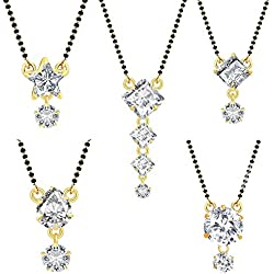 Jewels Galaxy American Diamond Mangalsutra For Women - Set Of 5