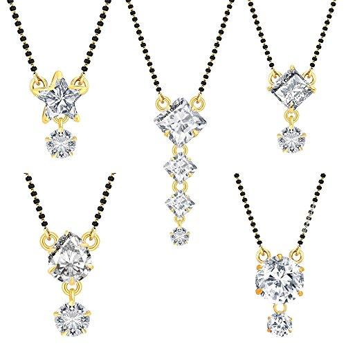 Jewels Galaxy American Diamond Mangalsutra For Women - Set Of 5