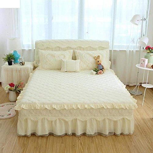 Wang Gang Falda de la Cama con Volantes sábanas colchas de algodón de protección de Encaje Princesa Single-D 150x200cm(59x79inch)