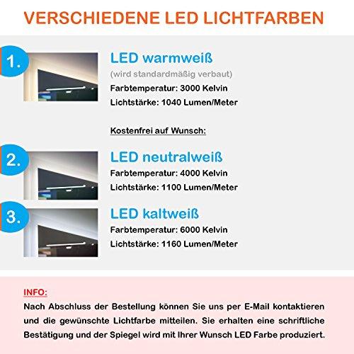 LED Badspiegel mit Beleuchtung 130 cm - 6
