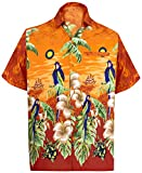 LA LEELA Herren-Hawaii-Hemd Strand-Taste unten Papagei Blumen kurzer Ärmel Aloha Orange_W358 XS - Brustumfang (in cms) : 91-96