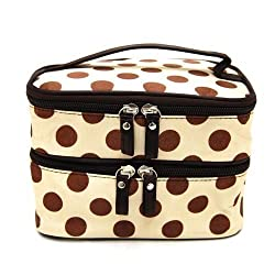Jovana Double Layer Cosmetic Bag Cream Colored With Coffee Dot Travel Toiletry Cosmetic Makeup Bag Organizer With Mirror