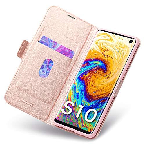 Aunote Galaxy S10 Hülle Galaxy S10 Schutzhülle Galaxy S10 6,1 Zoll Leder-Etui aus Leder Folio-Hülle Schutzhülle PU + TPU Soft Shockproof Flip-Cover und Ständer mit Kartenhalter (Rose Gold) Deluxe Soft Case