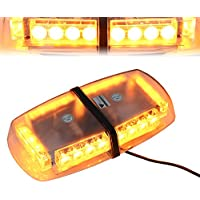 T Tocas (tm) 24 LED Strobe Beacon emergenza Mini bar con base magnetica per auto Rimorchio Caravan SUV marina del crogiolo tetto di sicurezza (Ambra)