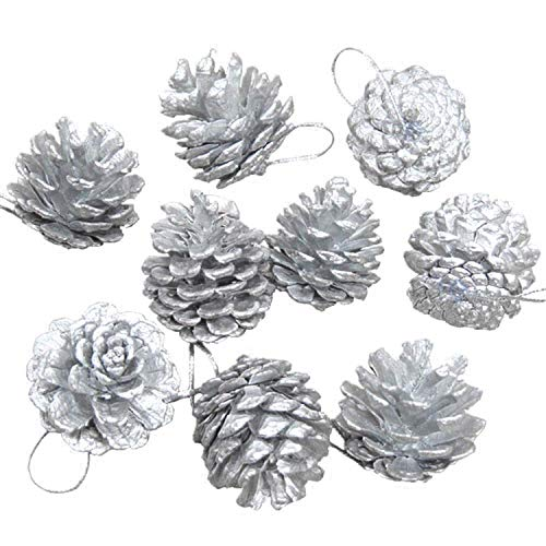 Fizzy Tech Natural Pine Cones Pendant Christmas Tree Party Decoration Ornaments Silver 9 PC