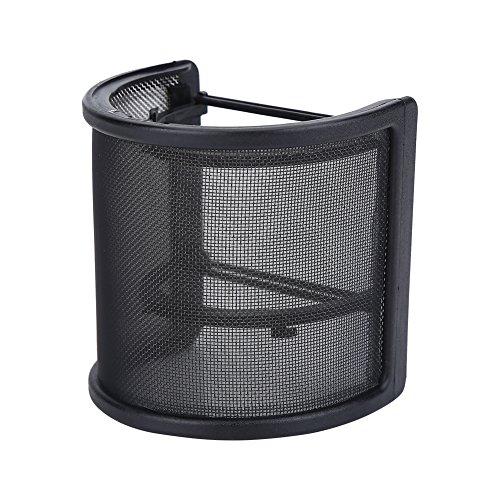 Dilwe Mikrofon Pop-Filter, Metallene Maschenweite und Schaum-Schicht-Dual Layer Mic Abdeckung für Studio