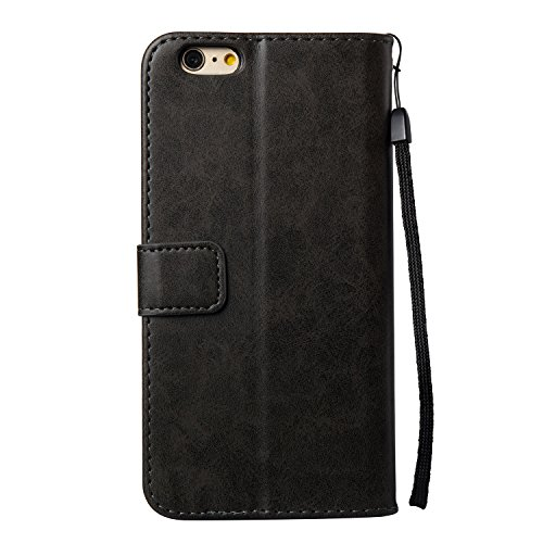 Hülle für iPhone 6S Plus, Tasche für iPhone 6 Plus, Case Cover für iPhone 6 Plus, ISAKEN Blume Schmetterling Muster Folio PU Leder Flip Cover Brieftasche Geldbörse Wallet Case Ledertasche Handyhülle T Blumen Skull Schwarz