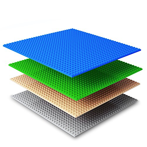 51OP5V7fMTL UK BEST BUY #1NextX 4 Pack Brick Baseplates Compatible withLEGO Brick Building Toys,10 X 10 Thickening Base Plate for Major Brand Building Blocks(Blue+Green+Grey+Khaik) price Reviews uk