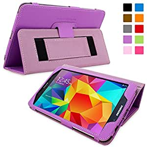 Snugg Galaxy Tab 4 8.0 Case - Smart Cover with Flip Stand & Lifetime Guarantee (Purple Leather) for Samsung Galaxy Tab 4 8.0