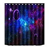 Space,Planet,Meteor,Meteorite,Navy Purple_Decor Showe Curtain,Polyester Fabric Water Resistant Bathroom Curtain Set with 12 Hook,180x180 CM