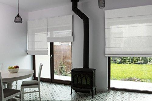 Raffrollo nach Maß, hochqualitative Wertarbeit, alle Größen verfügbar, für Fenster und Türen, Maßanfertigung, Befestigung durch Schrauben an Wand oder Decke (180cm Höhe x 125cm Breite / Beige)